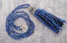 Mixed Blues Boho Tassel Necklace  Beaded by TerebellumStudio
