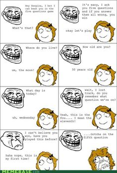 memes | Trollface engages in a battle of wit with Derpina. From MEMEBASE.com