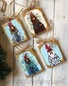 Christmas chickens in lights Rooster Painting, Rooster Art, Tole Painting, Painting On Wood, Christmas Paintings, Christmas Art, Christmas Ornaments, Xmas, Wooden Ornaments