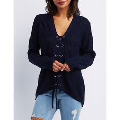 Charlotte Russe Lace-Up Shaker Stitch Sweater ($19) ❤ liked on Polyvore featuring tops, sweaters, navy, navy blue sweater, lace up v neck top, lace-up tops, blue v neck sweater and v neck tops