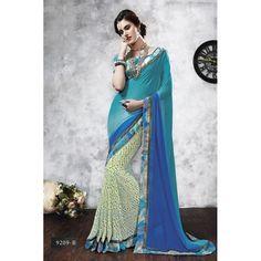 Diwali Special Blue & Beige Printed With Border Chiffon Georgette Saree-RKVIKI9209B(FH-RKVIKI9201)