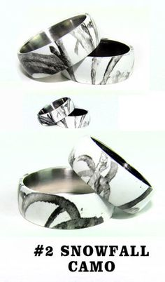 Licensed RealTree AP Snow Titanium Ring, Camo Rings, Camo Bands, White Camo  | White Camo, Titanium Ring And Camo