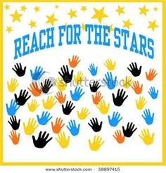 colorful hands reaching for yellow stars illustration by robert mobley, via Shutterstock Star Themed Classroom, Stars Classroom, Classroom Themes, Classroom Organization, Pre K Graduation, Graduation Theme, Kindergarten Graduation, Pre Kindergarten, Star Bulletin Boards
