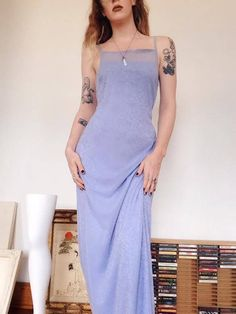 Beautiful Vintage Periwinkle Blue 90s Prom Dress, features ornate blue velvet & sparkle accents/designs, square 90s neck, maxi length, multi layer, lined underneath sheer patterned top fabric. - - M E A S U R E M E N T S - - (all were taken while laying flat) Fits like : Small Tag has