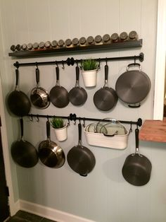 If you are looking for Incredible Hanging Rack Kitchen Decor Ideas, You come to the right place. Here are the Incredible Hanging Rack Kitchen D. Kitchen Wall Storage, Kitchen Rack, Kitchen Organization, New Kitchen, Kitchen Decor, Country Kitchen, Hanging Pots Kitchen, Organization Ideas, Storage Ideas
