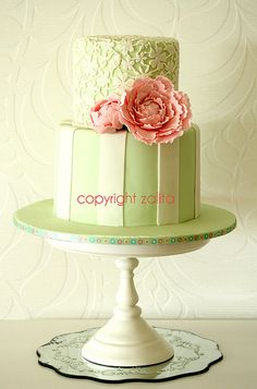 Pink Peony & Green Lace Cake