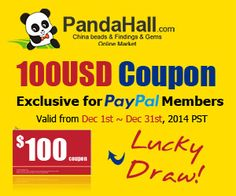 $100 Coupon, Exclusive for Paypal Members. Valid from Dec 1st~31st,2014 PST. Jewelry Tools, Cheap Jewelry, Jewelry Findings, Jewelry Making, Dec 1st, Wholesale Beads, Beading Supplies, Buy Cheap, Coupon