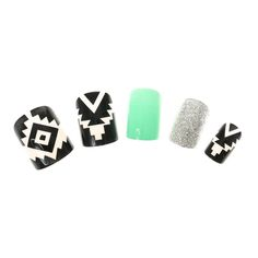 24 Pack Mint Aztec Glitter False Nails , False Nails, Inspire Me..., Your Fave's, Festival Make Up, all, Nails, Make Up, Glitter, What's New, False Nails Fashion trends, accessories and jewellery for young women