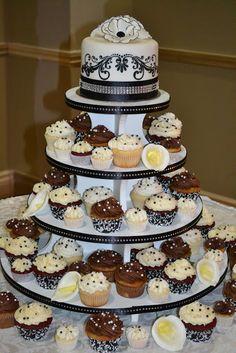 black, white and bling wedding cupcake display