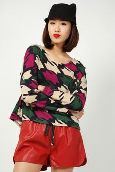 Taple Geometric Knit Pullover - Green | RUNWAY BANDITS