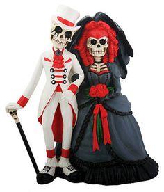 DOD Skeleton Gothic Style Halloween Wedding Cake Topper/Wed Couple Figurine Gift