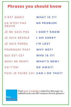 50 Common French Phrases Every French Learner Should Know Learn 50 Common French. - 50 Common French Phrases Every French Learner Should Know Learn 50 Common French Phrases You Oughta - French Language Lessons, French Language Learning, Learn A New Language, French Lessons, Spanish Lessons, Learning Spanish, Spanish Activities, Learning Italian, Learning French For Kids