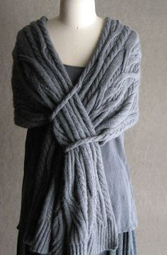 Carol Sunday cabled shawl design with self closure - beautiful and terribly clever!