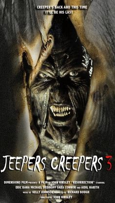 """Jeepers Creepers 3 (""""Olhos Famintos in Brasil) Terror Movies, Sci Fi Movies, Scary Movies, Great Movies, 2011 Movies, Jeepers Creepers 3, Recurring Nightmares, Classic Horror Movies, Horror Movie Posters"""
