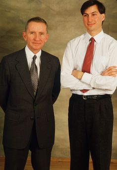 Steve Jobs, CEO of NeXT Computer Corp., stands with Ross Perot January 29, 1987. Jobs, co-founder of Apple Computers, left the company after a power struggle with John Sculley to create NeXT corporation.