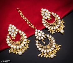 Jewellery Set Classy Earrings with Maang Tika  *Material* Alloy & Pearl  *Description* It Has 1 Pair Of Women's Earring and 1 Piece Of Women's Maang Tika  *Work* Kundan Pearl & Stone Work  *Sizes Available* Free Size *    Catalog Name: Elegant Fancy Earrings with Maang Tika CatalogID_128861 C77-SC1093 Code: 862-1056503-