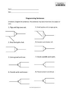 Printable sentence diagramming guide for students schoolwork sentence diagramming compound subject and verb ccuart Image collections