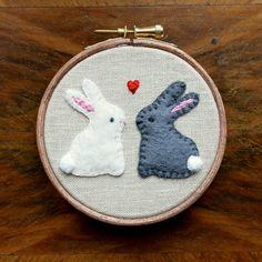Love Bunnies Embroidered Hoop Art / Felt Applique by CottonTalesUK https://www.etsy.com/uk/listing/220561979/love-bunnies-embroidered-hoop-art-felt?ref=shop_home_active_1