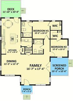 Two Bedroom Cottage - 46317LA floor plan - Main Level