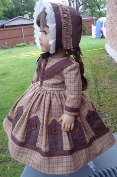 18 Doll Clothes Historical Civil War Gown and Bonnet Fits American Girl Marie Grace, Cecile, Addy
