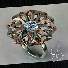 Diamond ring with white  and rose gold  make yourself unique and queen
