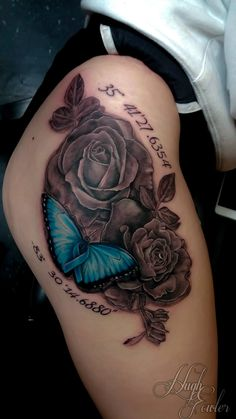 Beautiful roses along with a very colorful butterfly by Hugh Fowler.  We are a tattoo shop located in Panama City FL near Panama City Beach. We have some of the best artist or artists in the area.  #tattoo #tattoos #besttattoosaround #panamacityflorida #gulfcoast #baycounty #tattooshop #tattoostudio #best #cool #awesome #panamacity #panama #pcb #panamacitybeach #beach #picoftheday