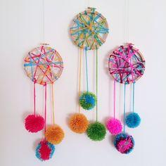 Pom Pom dreamcatchers #kids #craft