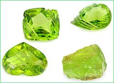 Peridot is a gemstone variety of the mineral olivine and is created during volcanic eruptions. An interesting fact about peridots is that while many other gemstones can be found in a variety of colors, the peridot only occurs as a green stone—but intensity of the green hue depends upon the amount of iron contained within the gem.
