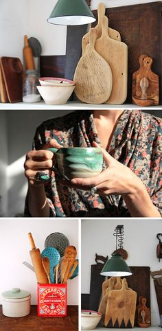 pottery, wood, and turquoise. yep.