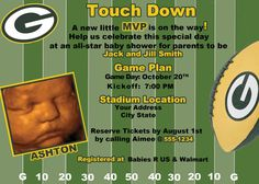 Green Bay Packers Football Baby Shower/Birthday by LeslisDesigns, $19.99