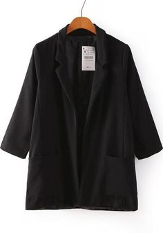 Black Notch Lapel Pockets Loose Blazer - Sheinside.com