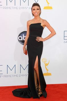 Entertainment journalist, fashion and beauty expert, Giuliana Rancic, wore a simple strapless dress designed by Romona Keveza, finishing off the outfit with Jimmy Choo shoes and Sutra earrings; she looked very classy in her Emmy ensemble.     Photo by Wenn.com