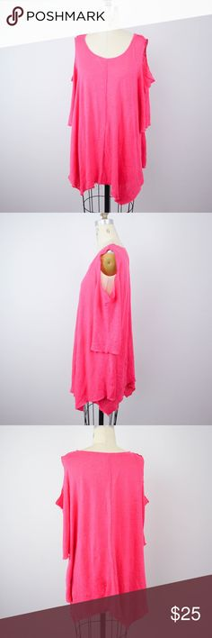 Soft Surroundings Cold Shoulder Top Linen Soft Surroundings Womens Top Sz M Cold Shoulder Pink Linen Asymmetrical Hem L32 Description - Color is not as neon as the picture appears.  Material: 100% linen Size: M  Measurements (laid flat in inches):  Armpit-to-armpit: 21 Length: 30 **All our products come from a clean and smoke-free household.** Soft Surroundings Tops Blouses