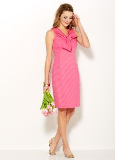 Sara Campbell sheath dress with bow at the front neckline