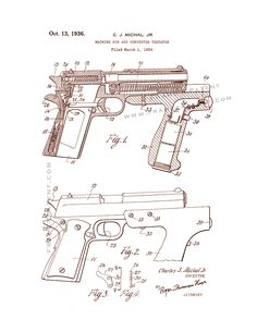 This is a Patent Print for a Machine-gun and Converter Therefor. and it was issued on October 1936 by the United States Patent and Trademark Office. Hunting Magazines, Patent Drawing, Anatomy Study, Revolvers, Patent Prints, Weapons, Diy And Crafts, Poster Prints, Guns