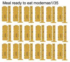 Aquí os dejo algunas cajas modernas de raciones de comida, pinchad sobre la imágen para descargarla escalada a 1/35 y en alta resolución. El...