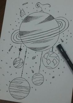 Filtro dos planetas – Keep up with the times. Easy Drawings Sketches, Hipster Drawings, Space Drawings, Dark Art Drawings, Pencil Art Drawings, Doodle Drawings, Doodle Art, Planet Drawing, Galaxy Drawings