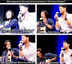 "[SET OF GIFS] J2 panel. Fan question: ""What happened to the actual Jared and Jensen in 'The French Mistake'?"""