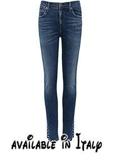 B0784ZHZSZ : Citizens of Humanity Da Donna jeans skinny con borchie razzo Blu IT 46. 46% cotone 27% tencel 35% viscosa 5% spandex. Chiusura con bottone e zip per volare. Cinque tasche. Magro di aumento del High. Cupola rivetti tasca portamonete