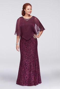 This plus size lace column dress has just a hint of flare at the hemline for easy movement, and is topped with a crystal-embellished sheer chiffon capelet. By Ignite Two-piece ensemble Polyester, nylon Back zipper; fully lined Spot clean Imported