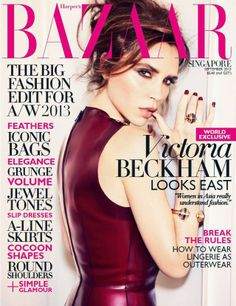 Victoria Beckham in burgundy for Harper's Bazaar Singapore September 2013