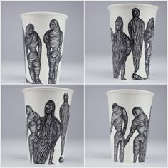 hand drawn illustration on paper cups.  Those cups are all used.