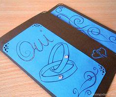 faire part de mariage bleu et chocolat fait main card. Black Bedroom Furniture Sets. Home Design Ideas