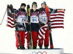 Joss Christensen (USA, 34) wins gold, Gus Kenworthy (USA, 8) wins silver, and Nicholas Goepper (USA, 1) wins bronze in the men's ski slopest...