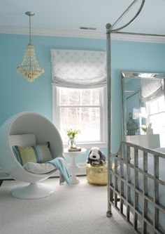 modern kid's bedroom - great wall color and canopy bed