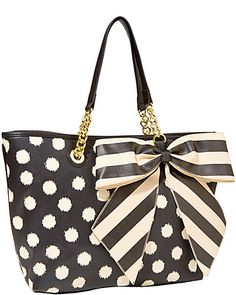 BOW TASTIC TOTE WHITE BLACK - Betsey Johnson