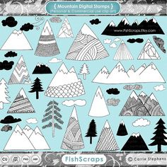 Hand Drawn Mountain Clip Art - Digital Stamps - Pine Trees - Doodled Clouds - PNG ClipArt & Photoshop Brushes - Hand Drawn Illustration.