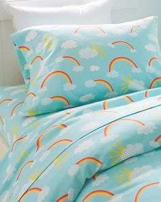 Rainbows Flannel Bedding...my girls would love this