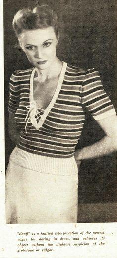 sexy 1940s novelty jumper sweater free knitting pattern