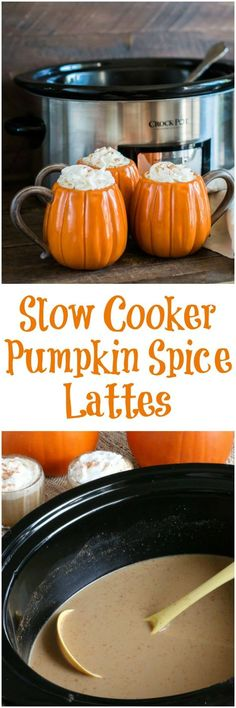 Slow Cooker Pumpkin Spice Lattes #crockpot #slowcooker #pumpkin #pumpkinspice #pumpkinspicelattes #lattes #coffee #fall
